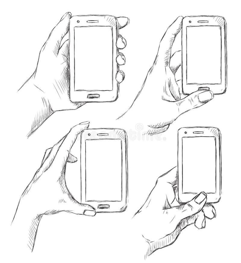 Vektorsatz des Gekritzels übergibt den gezogenen Menschen, der intelligentes Telefon hält stock abbildung
