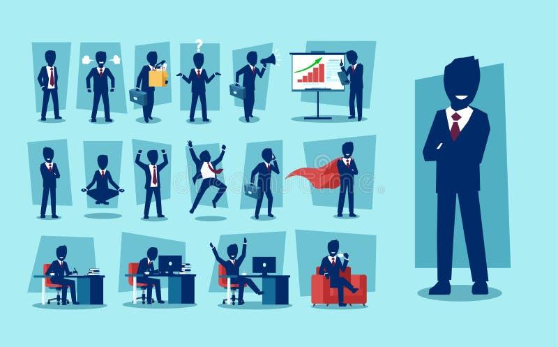 Vektorsatz des Geschäftsmanncharakters lizenzfreie abbildung
