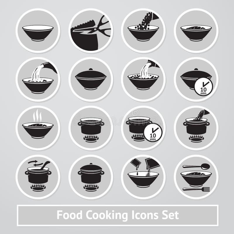 Vektorsatz des Kochens von Ikonen, für Anweisungen stock abbildung