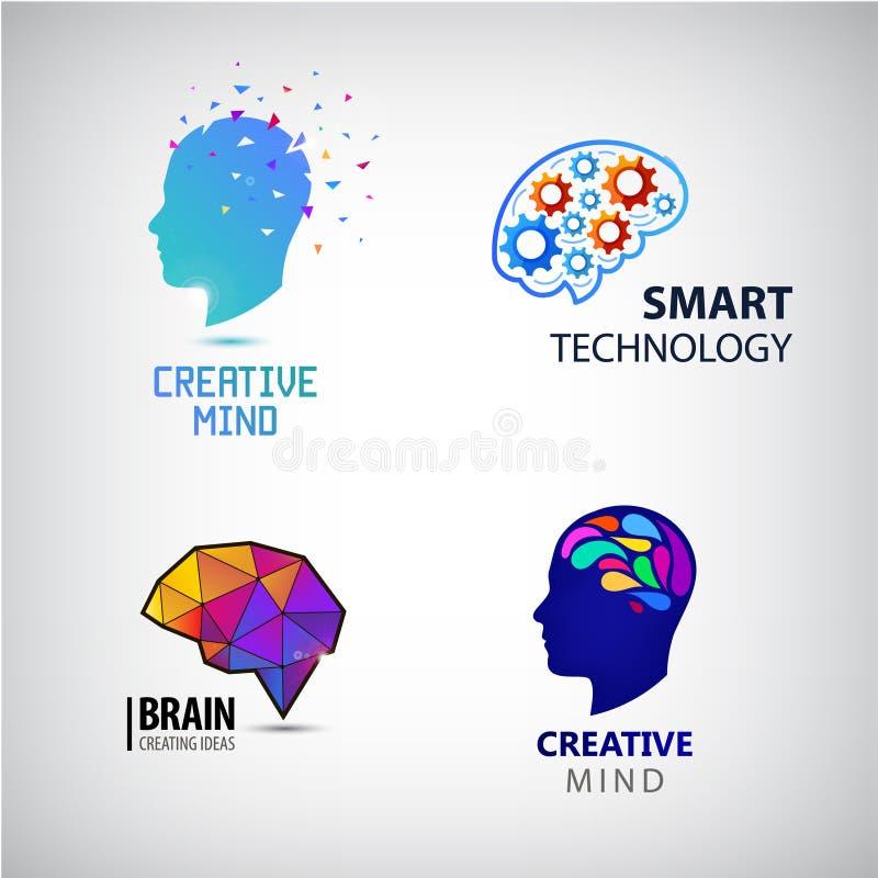 Vektorsatz des kreativen Verstandes, Geistesblitz, intelligente Technologielogos lizenzfreie abbildung