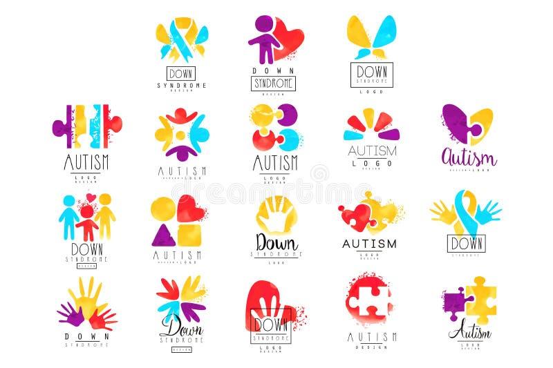 Vektorsatz des mehrfarbigen Logos für Autismus-Bewusstseins-Tag Entwerfen Sie für Postkarten, Wellnessmitten, Organisationshelfen vektor abbildung