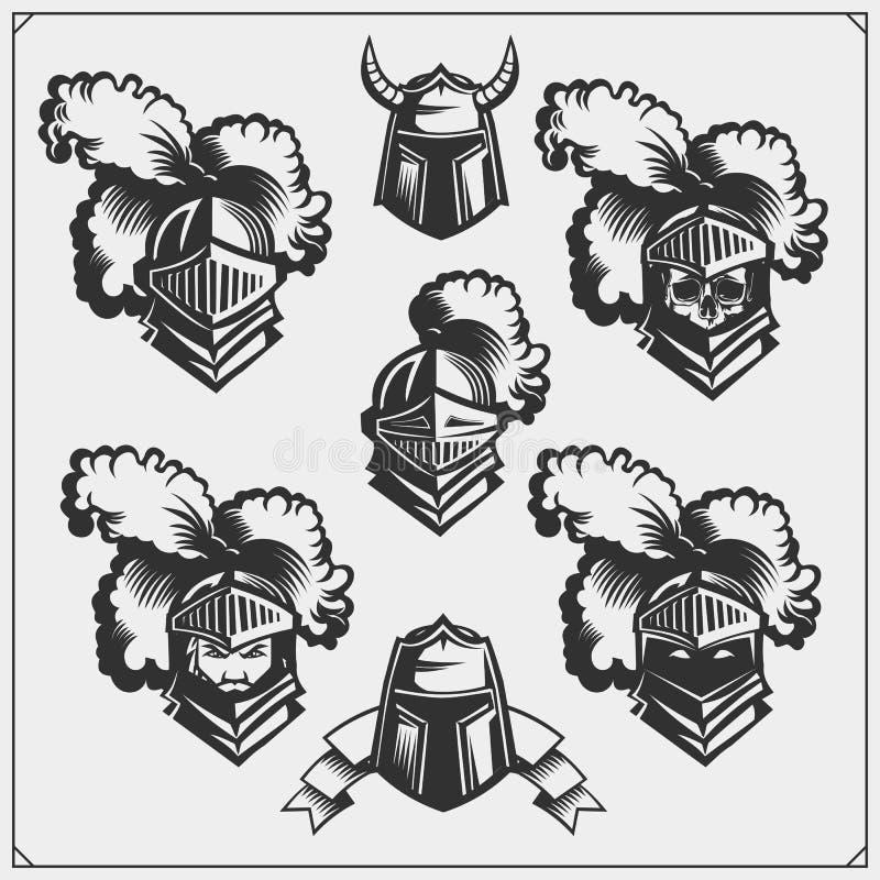 Vektorsatz des mittelalterlichen Kriegersrittersturzhelms lizenzfreie abbildung