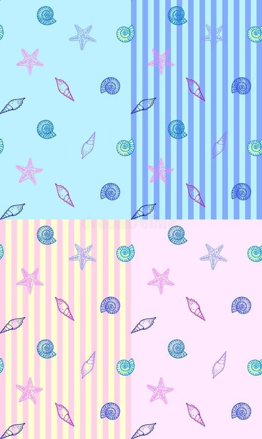 Vektorsatz des nahtlosen Musters mit Muschelelementen auf Streifen oder monocolor zurück lizenzfreie abbildung