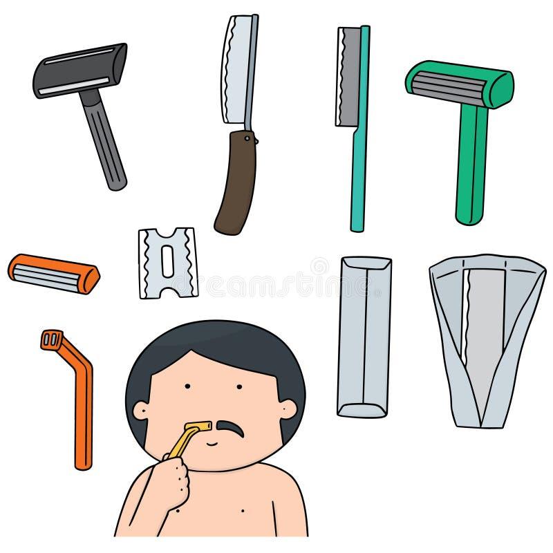 Vektorsatz des Rasiermessers stock abbildung