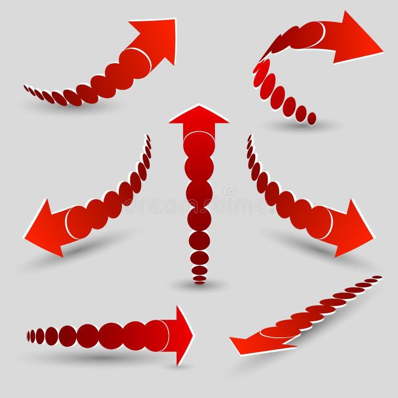 Vektorsatz des roten Pfeilzeigers, verbogen in verschiedene Richtungen, Isolate auf einem grauen Hintergrund Schablone für die Sc stock abbildung