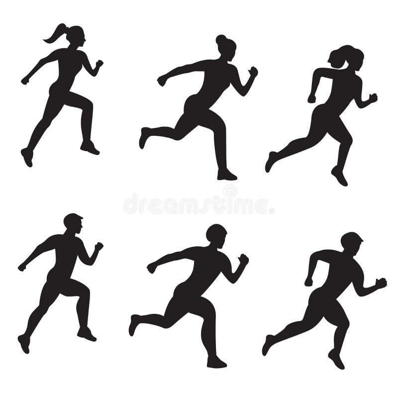 Vektorsatz des Schattenbildes der laufenden Männer und der Frauen auf weißem Hintergrund stock abbildung
