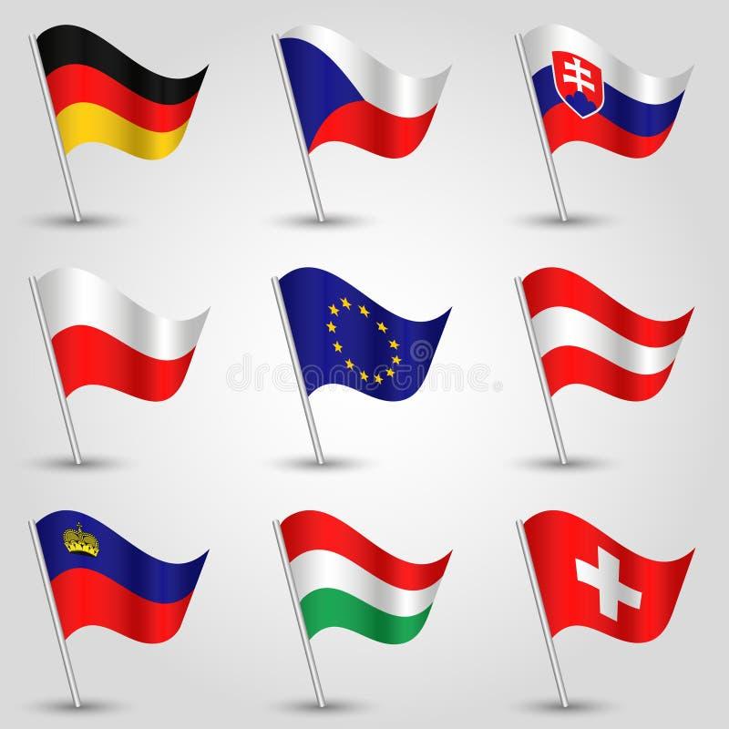 Vektorsatz des Wellenartig bewegens der Mitteleuropa-Staatsflaggenikone der Zustände Deutschland, Tscheche-Republik, Slowakei, P lizenzfreie abbildung