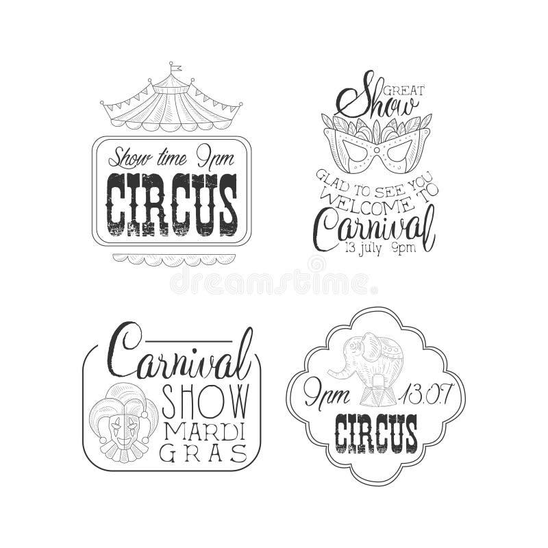 Vektorsatz des Zirkusses und des Mardi Gras-Karnevals unterzeichnet Schwarzweiss-Logoschablonen mit Spitze des Zeltes, Maskeradem vektor abbildung