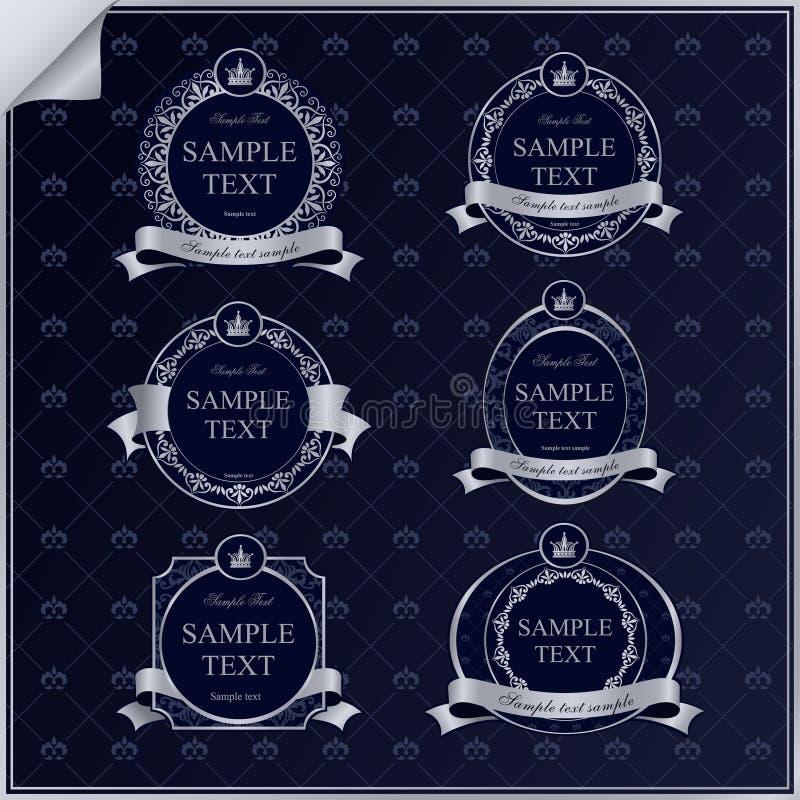 Vektorsatz dunkelblaue Rahmenaufkleber der Weinlese mit   stockfoto