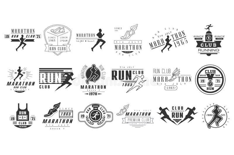 Vektorsatz einfarbige Logos für Marathon- oder Laufverein Embleme mit Schattenbildern von Leuten und von Sportschuhen laufen lizenzfreie abbildung