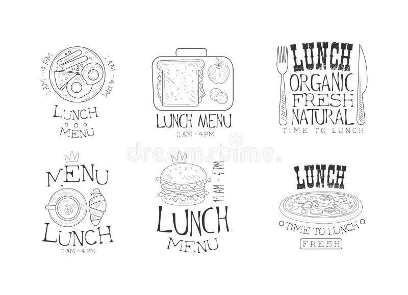 Vektorsatz einfarbige Logos für Mittagessenmenü Übergeben Sie gezogene Embleme mit Spiegeleiern, Kaffee mit Hörnchen, geschmackvo stock abbildung