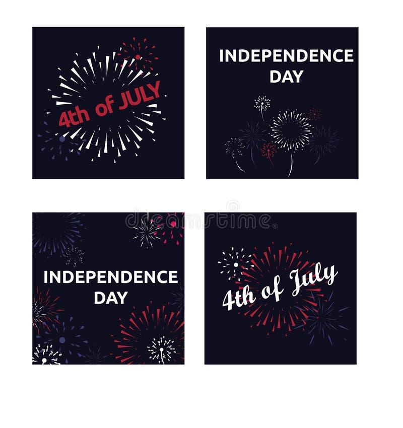 Vektorsatz Fahnen mit Feuerwerk 4. amerikanischen Unabhängigkeitstags Julis vektor abbildung