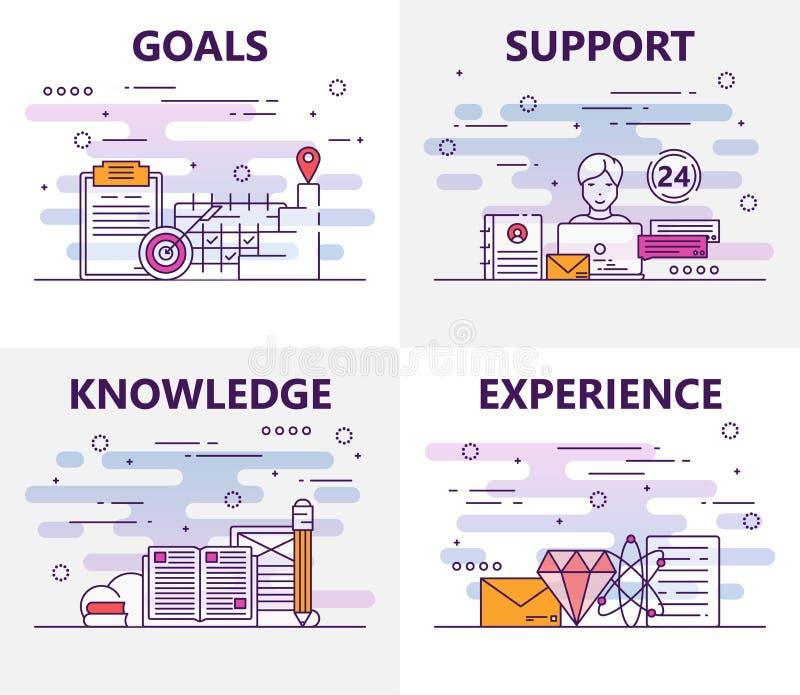 Vektorsatz Fahnen mit Zielen, Unterstützung, Wissen, Erfahrungskonzeptelemente Dünne Linie flache Designsymbole und stock abbildung