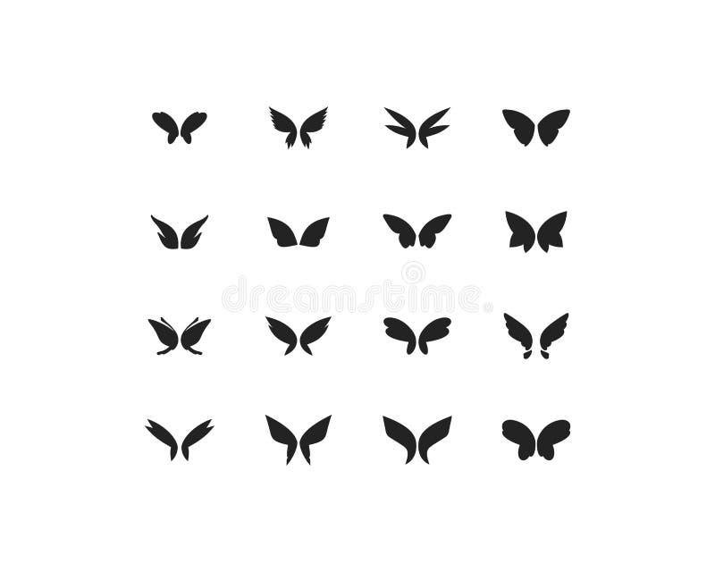 Vektorsatz Fantasieschmetterlingsflügel lokalisiert auf Weiß lizenzfreie abbildung