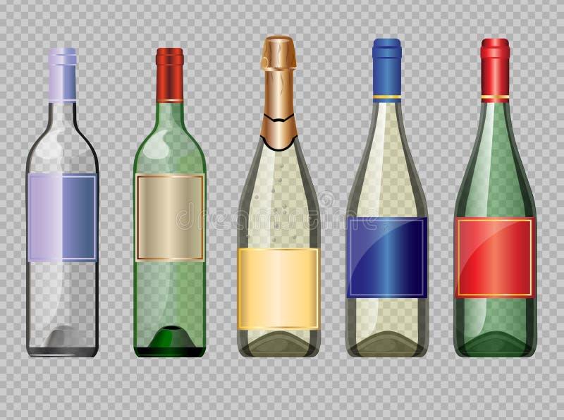 Vektorsatz farbiger transparenter Glasalkohol vektor abbildung