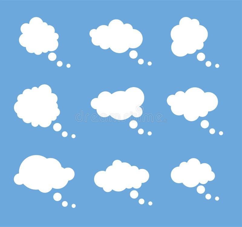 Vektorsatz gedachte weiße Blasen lizenzfreie abbildung