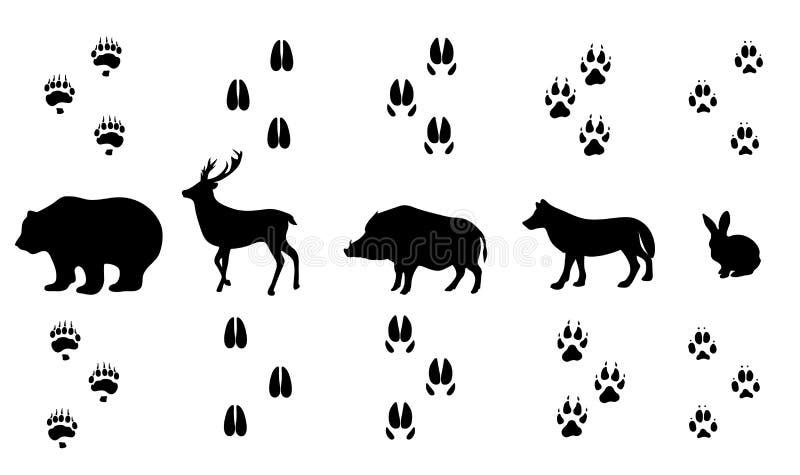 Vektorsatz gehende wilde hölzerne Tierbahnen lizenzfreie abbildung