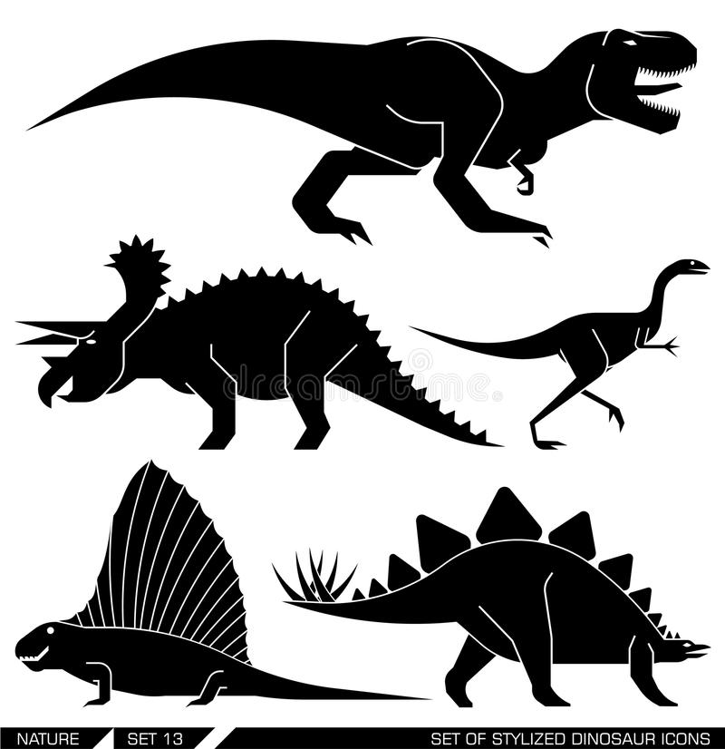 Vektorsatz geometrisch stilisierte Dinosaurierikonen lizenzfreie abbildung