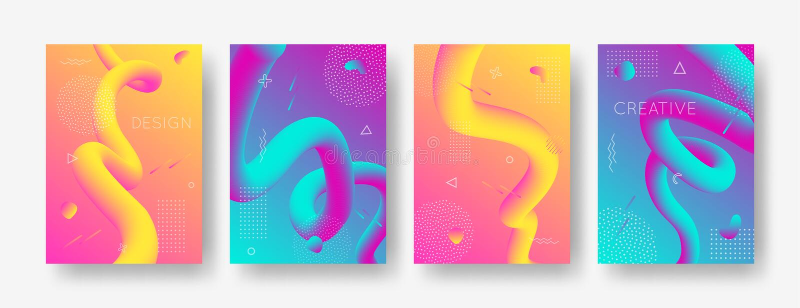Vektorsatz geometrische Hintergründe der Zusammenfassungssteigung mit modernen flüssigen Formen für Plakat, Abdeckung, Fahne vektor abbildung
