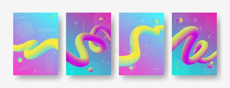 Vektorsatz geometrische Hintergründe der Zusammenfassungssteigung mit modernen flüssigen Formen für Plakat, Abdeckung, Fahne stock abbildung
