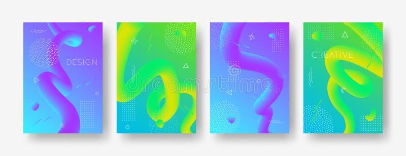 Vektorsatz geometrische Hintergründe der Zusammenfassungssteigung mit modernen flüssigen Formen für Plakat, Abdeckung, Fahne lizenzfreie abbildung