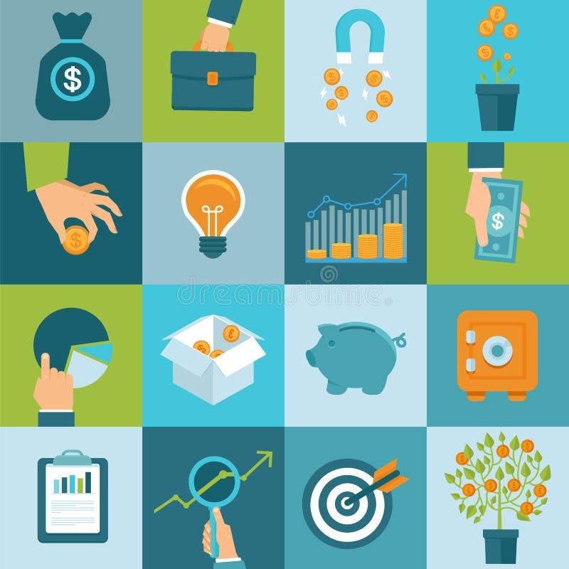 Vektorsatz Geschäftskonzepte in der flachen Art lizenzfreie abbildung