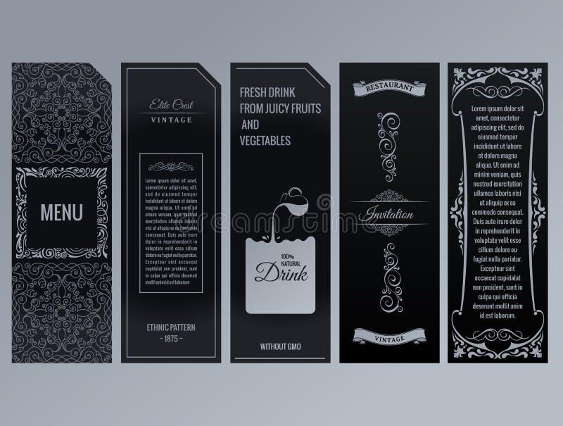 Vektorsatz Gestaltungselementaufkleber, Ikone, Logo, Rahmen, Luxusverpackung für das Produkt lizenzfreie abbildung