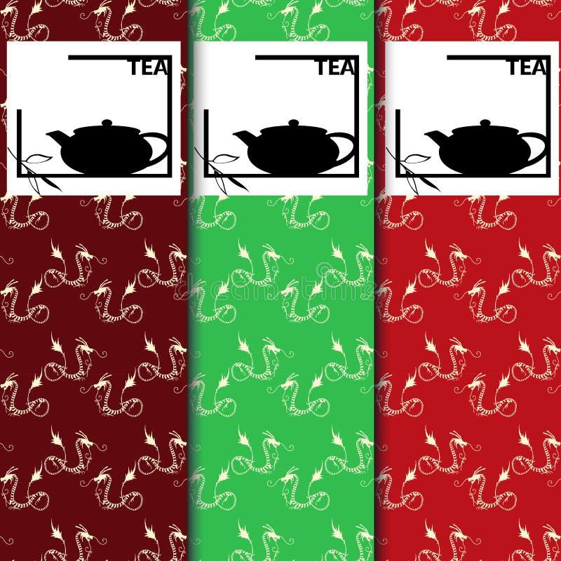Vektorsatz Gestaltungselemente und Ikonen in der modischen linearen Art für Teepaket - chinesischer Tee stock abbildung