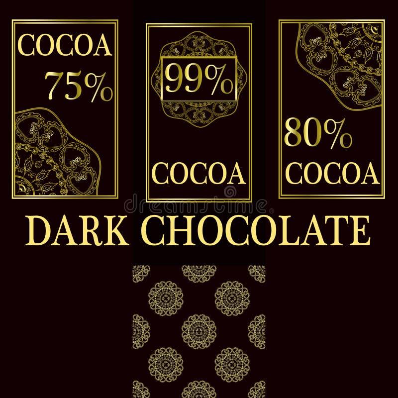 Vektorsatz Gestaltungselemente und nahtloses Muster für dunkle Schokoladen- und Kakaoverpackung - Aufkleber und Hintergrund stock abbildung