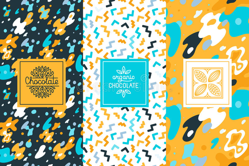 Vektorsatz Gestaltungselemente und nahtloses Muster für Schokolade lizenzfreie abbildung