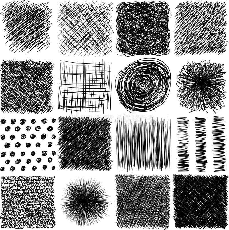 Vektorsatz, gezeichnete Lukenbeschaffenheit der Tinte Hand Abstrakte Schmutzlinien, Punkte, Ausbrüten, Anschläge und anderes Graf vektor abbildung