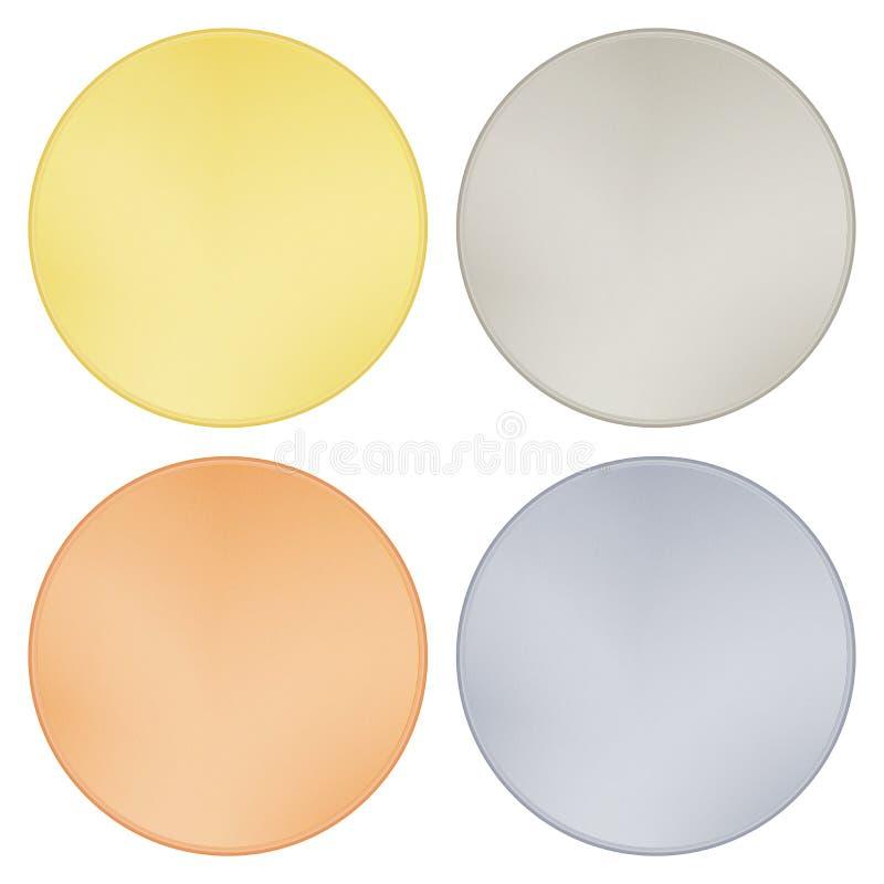 Vektorsatz glänzende Rondeschablonen, für Münzen, Medaillen, Knöpfe, Aufkleber des Goldplatins versilbern Bronze lizenzfreie abbildung