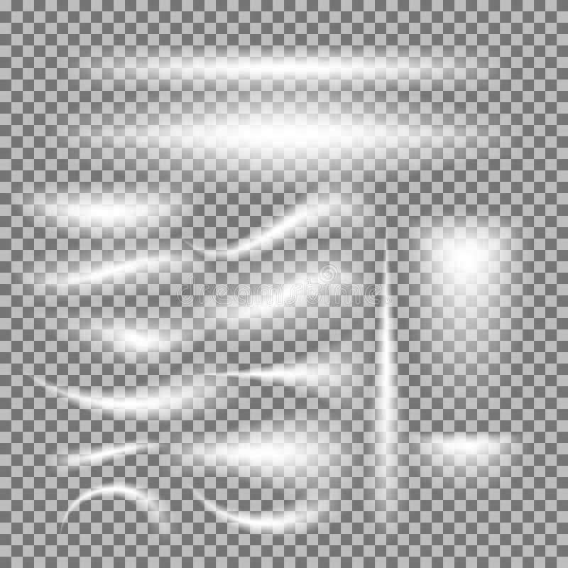 Vektorsatz glühendes Licht birst auf grauem Weiß lizenzfreie abbildung