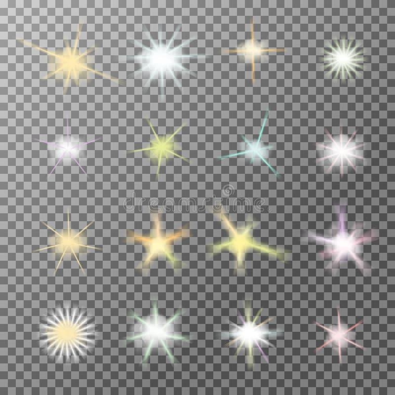 Vektorsatz glühendes Licht birst mit Scheinen stock abbildung
