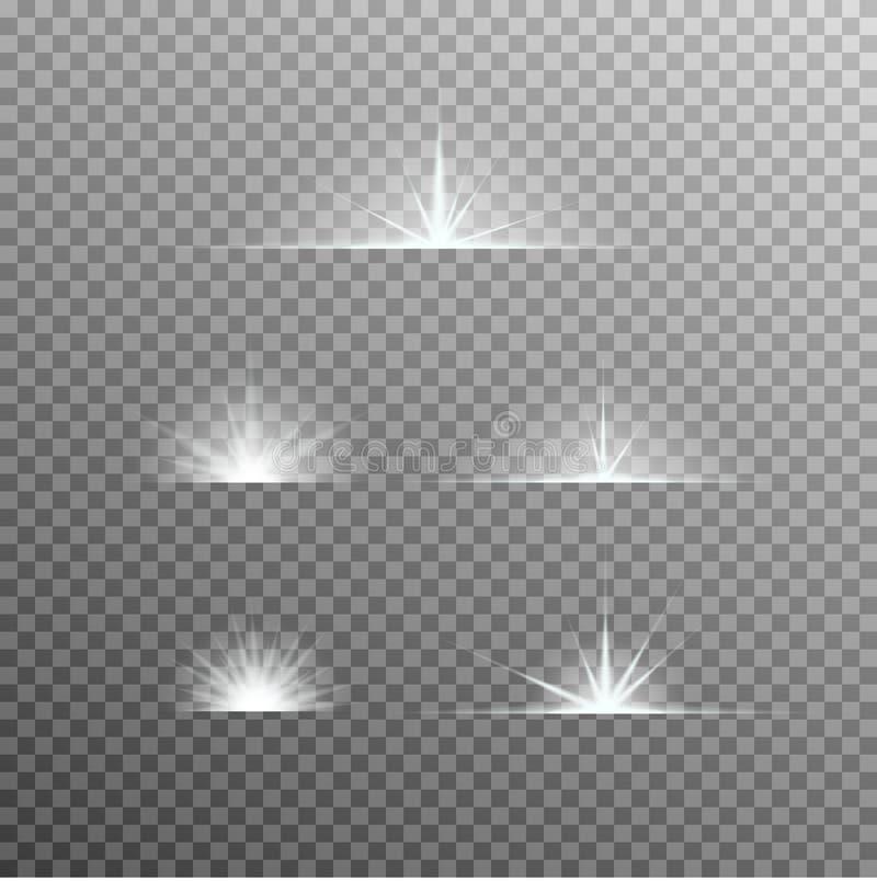 Vektorsatz glühendes Licht birst mit Scheinen lizenzfreie abbildung