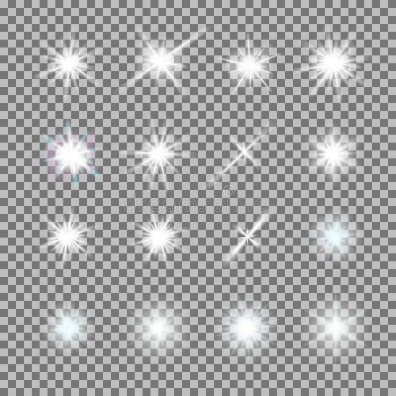 Vektorsatz glühendes Licht birst mit Scheinen auf transparentem Hintergrund lizenzfreie abbildung
