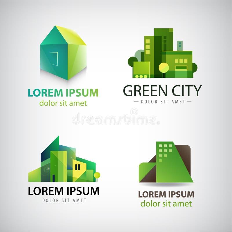 Vektorsatz grüne Gebäudeikonen, Logos eco stock abbildung