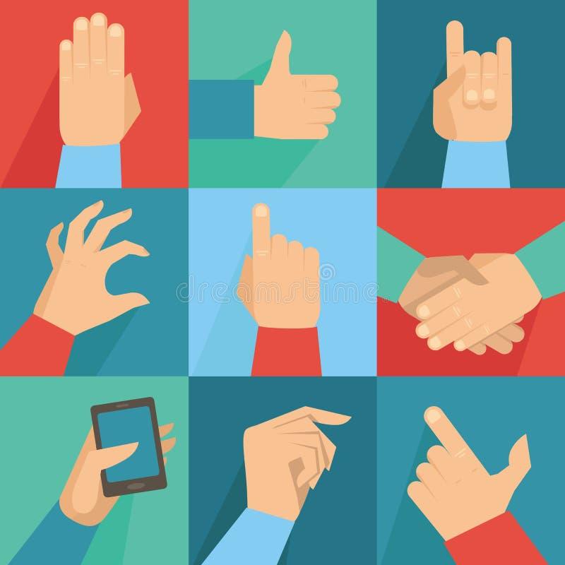 Vektorsatz Hände und Gesten vektor abbildung