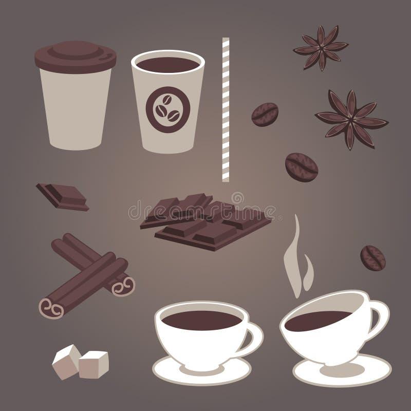 Vektorsatz heißer und der Kälte Getränke der Kaffeeeinzelteile, der Kaffeetassen, der Stücke Schokolade, des Sternanises, der Kaf stock abbildung