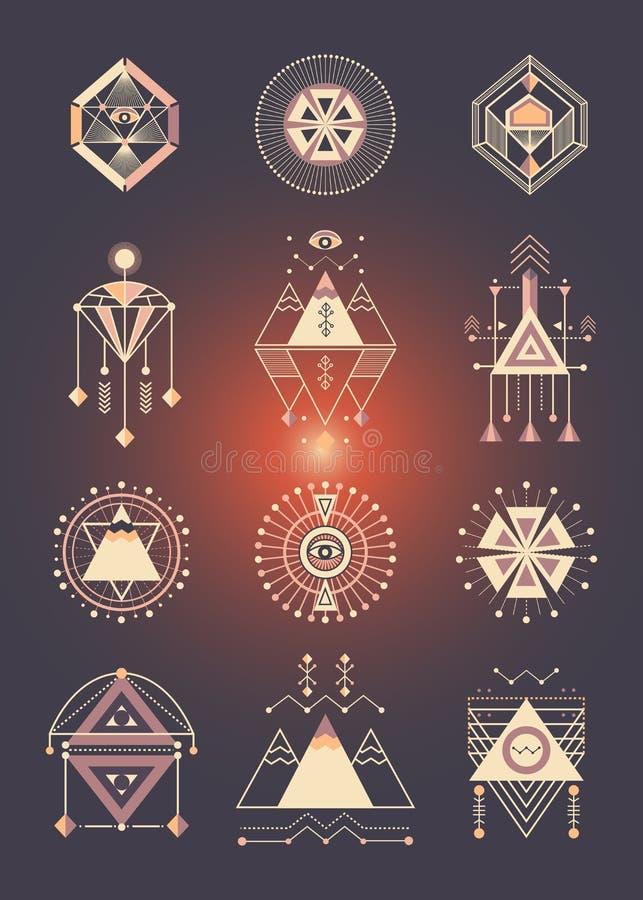 Vektorsatz heilige Geometrie stock abbildung