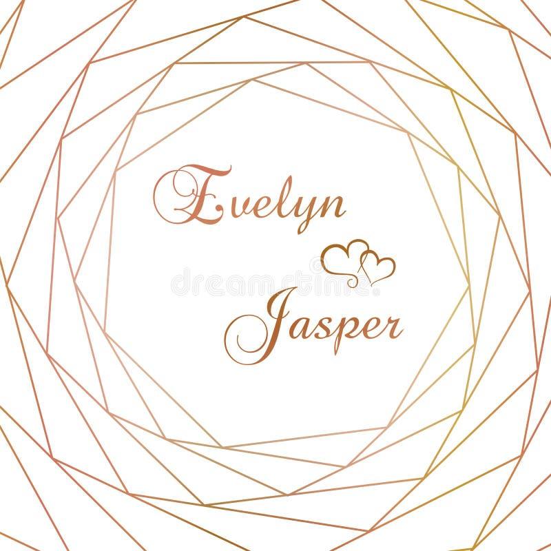 Vektorsatz Heiratseinladungen Auf einem wei?en grauen Hintergrund mit Goldlinien, Streifen, F?hrer In einem dekorativen quadratis stock abbildung