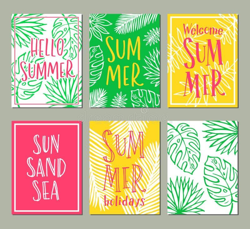 Vektorsatz helle Sommerkarten stockbilder
