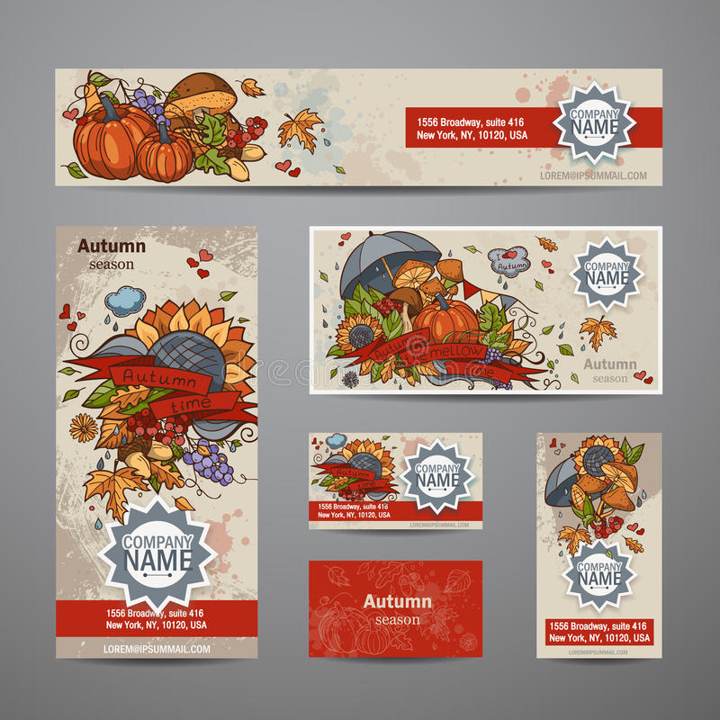 Vektorsatz Herbstflieger, Karten, Fahnen stock abbildung