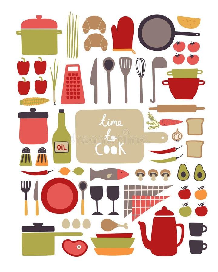 Vektorsatz Küchengeschirr und Lebensmittelinhaltsstoffe stock abbildung