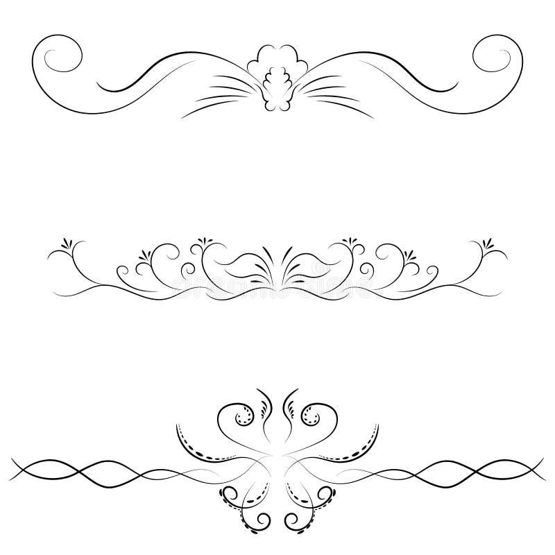 Vektorsatz kalligraphische mit Blumenelemente lizenzfreie abbildung