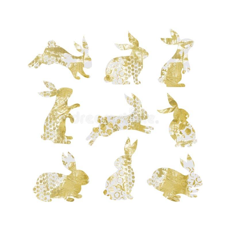 Vektorsatz Kaninchenschattenbilder lizenzfreie abbildung