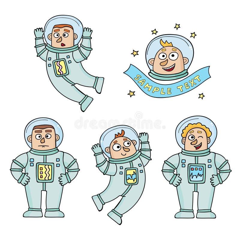 Vektorsatz Karikaturfarbastronauten lokalisiert auf Weiß stock abbildung