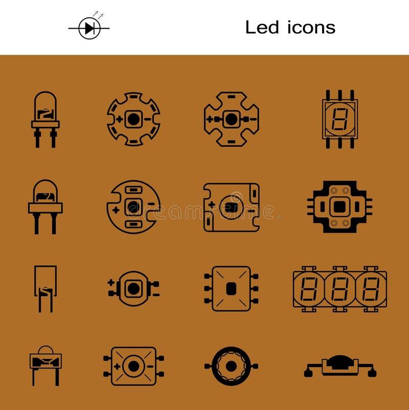 Download Vektorsatz LED Ikonen Für Lichtemittierende Wirtschaftliche LED  Lampen Geführte Formen Große Sammlung Führte Dioden
