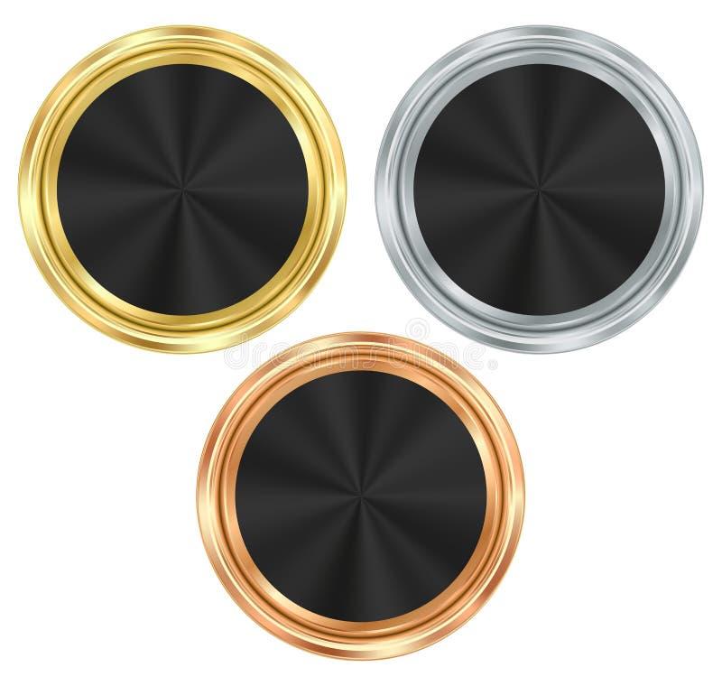 Vektorsatz leere runde Medaillen des Goldes, Silber, Bronze mit a lizenzfreie abbildung