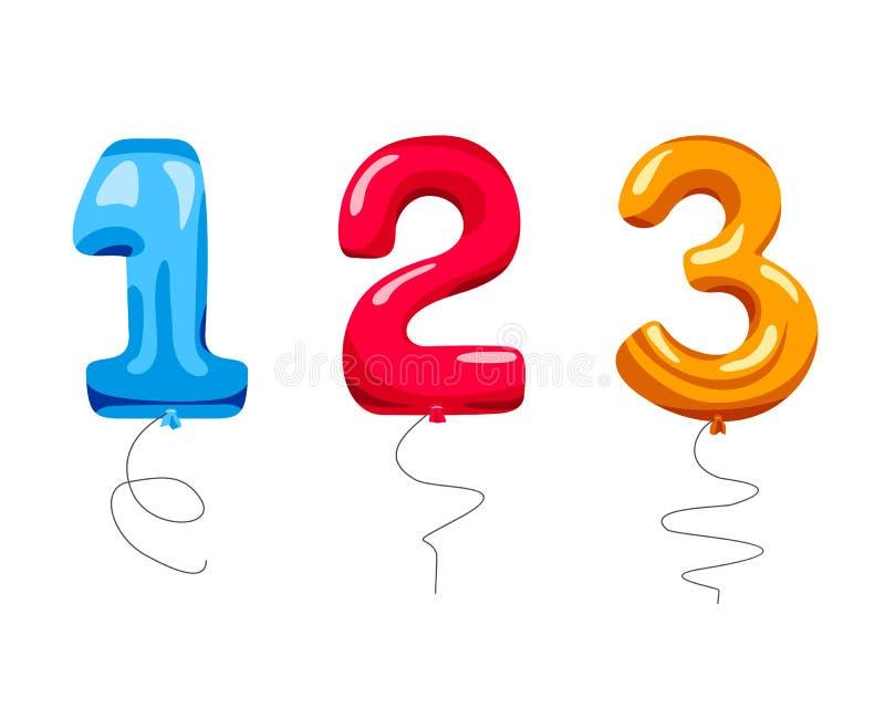 Vektorsatz lokalisierte Farbe steigt in Form von Zahlen im Ballon auf vektor abbildung